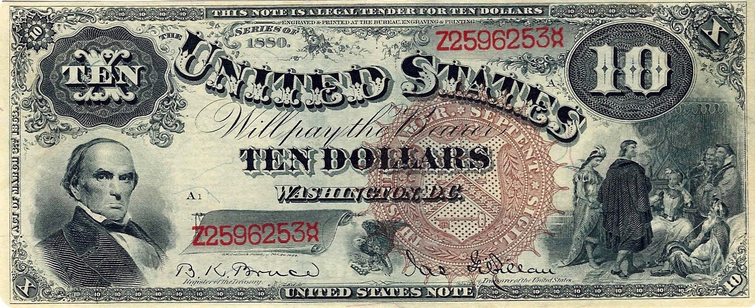 Series 1880 $10 Legal Tender Note.  Crisp Uncirculated (Friedberg #101)